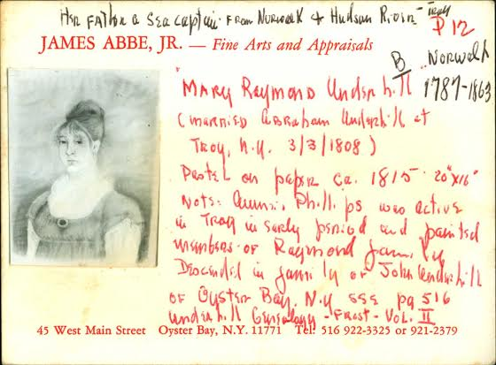 A picture and handwritten note about Mary Raymond Underhill